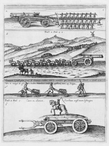 Transport of artillery early 17th century (Jean Théodore de Bry, 1614)